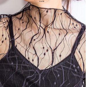 Tops - 🔥Sexy🔥 Sheer Mesh Top Black Leaf Pattern